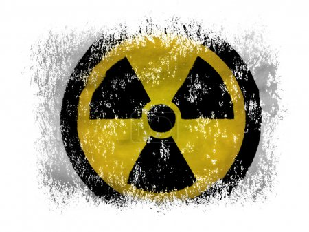 Nuclear radiation symbol painted on on white background