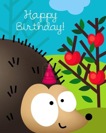 Birthday card with cute hedgehog, porcupine