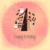 Vintage Happy Birthday card invitation with Number 1