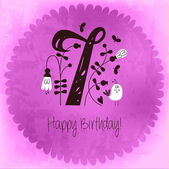 Vintage Happy Birthday card invitation with Number 7