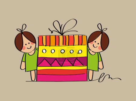 Illustration for Cute twin girls sketch with a birthday gift, for your design - Royalty Free Image