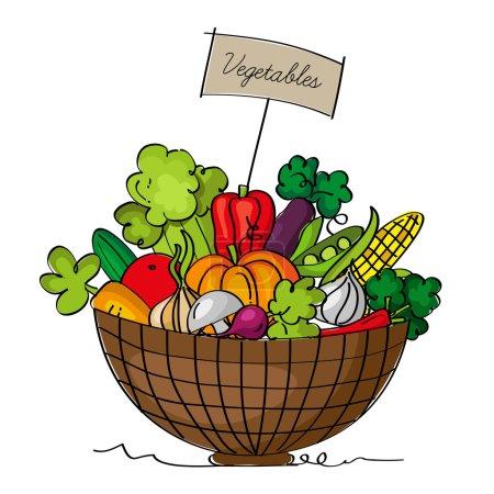 Illustration pour Un panier de légumes, isolé sur fond blanc - image libre de droit