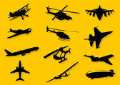 Set of vector images of flying vehicles Set includes airlines military aircrafts helicopters airship vintage aircrafts glider