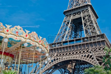 Photo for Eiffel Tower (Tour Eiffel), and French carousel, Paris - Royalty Free Image