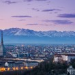 Turin (Torino), twilight panorama with Mole Antone...
