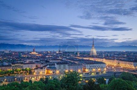 Turin (Torino), high definition panorama at twilig...