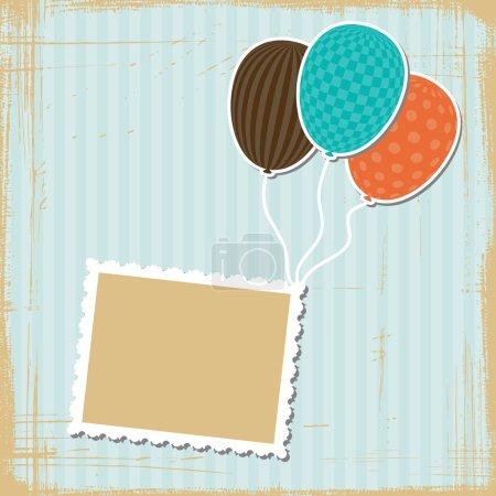 Illustration pour Carte avec ballons volants dans un style rétro . - image libre de droit