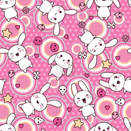 Illustration for Seamless pattern with doodle. Vector kawaii illustration. - Royalty Free Image