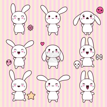 Illustration for Collection of funny and cute happy kawaii rabbits. - Royalty Free Image