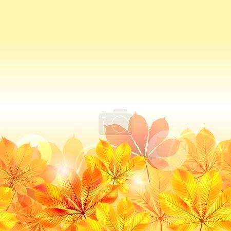 Illustration pour Automne fond avec des feuilles jaunes. illustration vectorielle. - image libre de droit