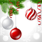 Merry Christmas vector background with glossy balls