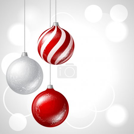 Illustration for Merry Christmas vector background with glossy balls. - Royalty Free Image
