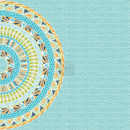 Illustration for Colorful ethnicity round ornament, mosaic vector background. - Royalty Free Image