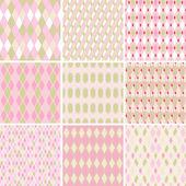 Seamless abstract retro pattern Set of 9 geometric texture