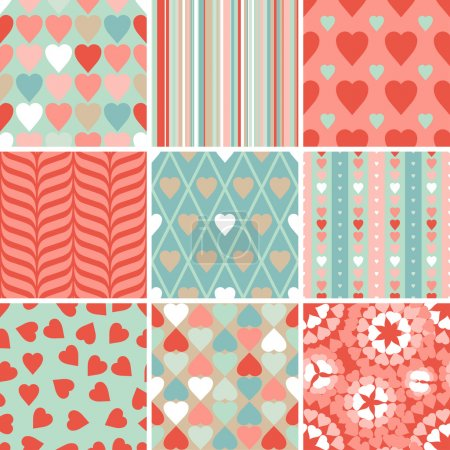Vector set of 9 Valentine's Day heart patterns.