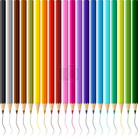 Illustration pour Collection de crayons de couleur sur fond blanc . - image libre de droit