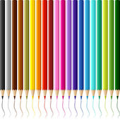 Collection of colored pencils on white background