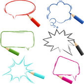 Set of hand-drawn speech bubbles with pencils