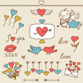 Set of Valentine's cute doodles and design elements