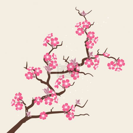Illustration for Card with stylized cherry blossom flowers. - Royalty Free Image
