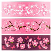 Cherry blossom flowers banner set