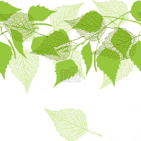 Illustration for Seamless pattern with green birch leaves. - Royalty Free Image