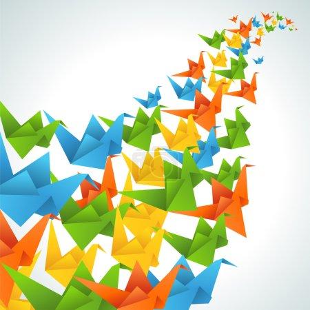 Illustration pour Origami papier oiseaux vol résumé fond . - image libre de droit