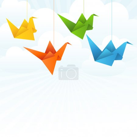 Illustration for Origami paper birds flight abstract background. - Royalty Free Image