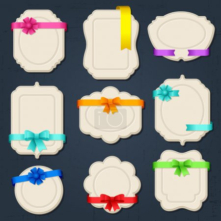 Illustration for Collection of badges, labels, tags with bows and ribbons. - Royalty Free Image