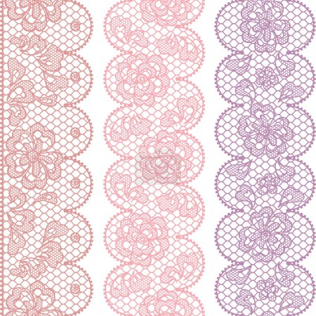 Lace fabric seamless borders with abstact flowers.