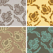 Set of lace seamless patterns with abstact flowers