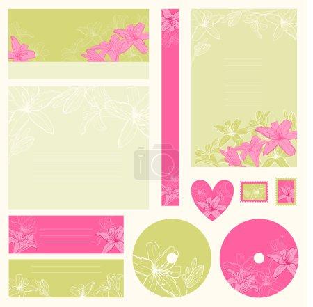 Illustration pour Ensemble des invitations de mariage avec fond de fleurs. - image libre de droit