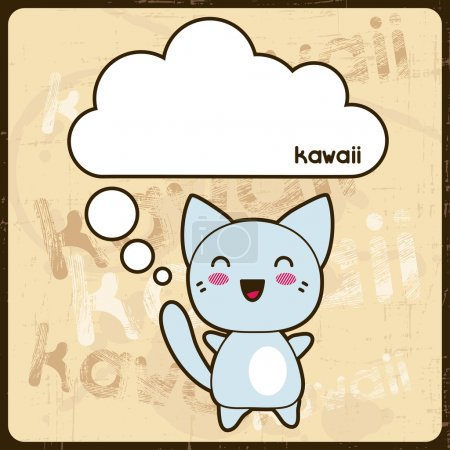 Illustration for Kawaii card with cute cat on the grunge background. - Royalty Free Image