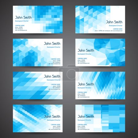 Business cards set with abstract geometric background.