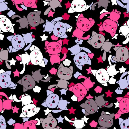 Illustration for Seamless pattern with cute kawaii doodle cats. - Royalty Free Image