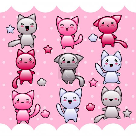 Illustration for Card with cute kawaii doodle cats. - Royalty Free Image