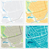 Set of 4 abstract maps