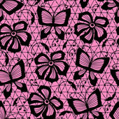 Seamless lace pattern with butterflies and flowers