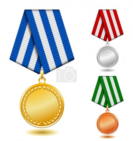 Illustration for Gold, silver and bronze medals on patterned color ribbon. - Royalty Free Image
