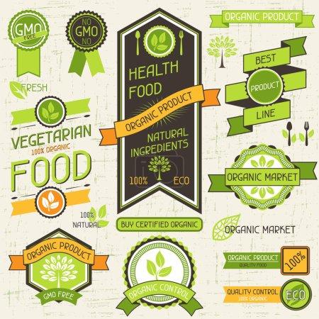 Ilustración de Banderas de alimentos orgánicos. conjunto de etiquetas y calcomanías. - Imagen libre de derechos