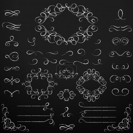 Illustration pour Jeu de tableaux calligraphiques avec éléments de conception . - image libre de droit