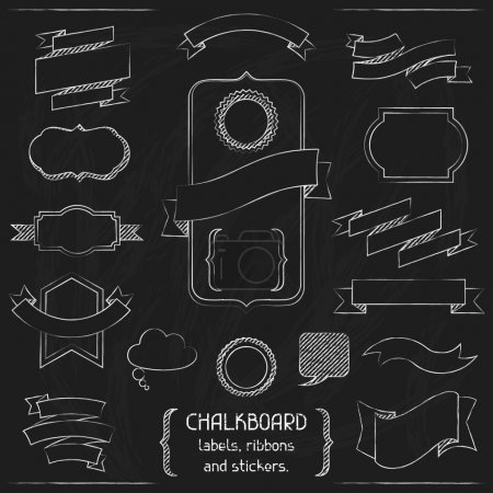 Illustration for Chalkboard labels, ribbons and stickers. - Royalty Free Image