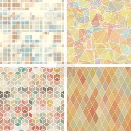 Seamless abstract geometric patterns set.