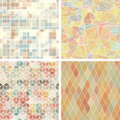 Seamless abstract geometric patterns set
