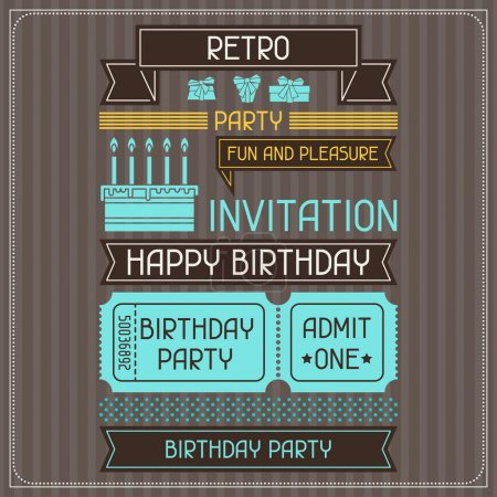 Invitation card for birthday in retro style.