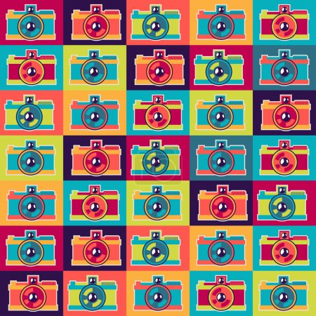 Seamless pattern in retro style with cameras.