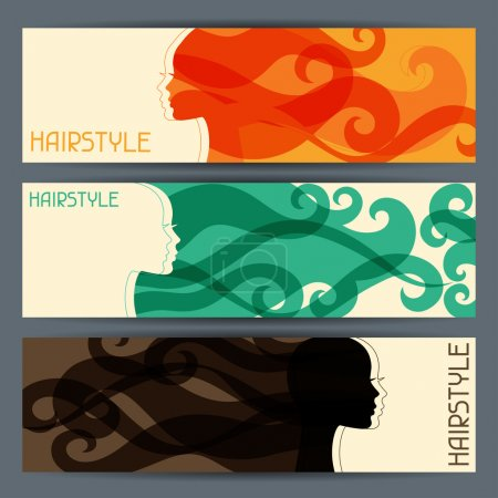 Illustration for Hairstyle horizontal banners. - Royalty Free Image