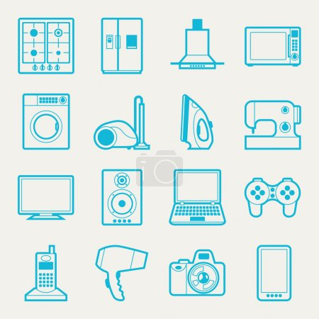 Illustration for Set of home appliances and electronics icons. - Royalty Free Image
