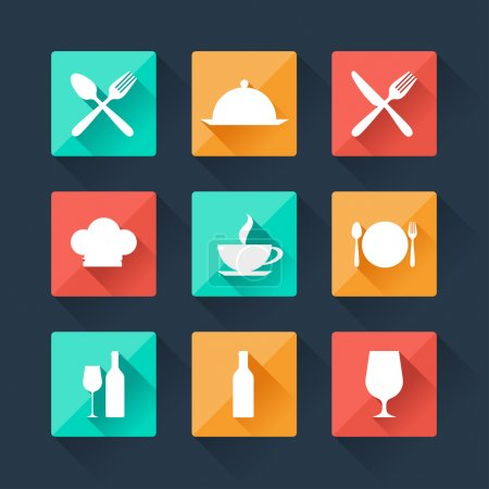 Collection flat icons food and drink for web design.