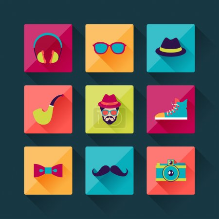 Illustration for Set of hipster icons in flat design style. - Royalty Free Image